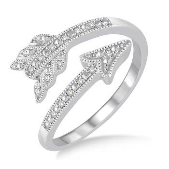 Gold Casters Diamond Cupid's Arrow Ring