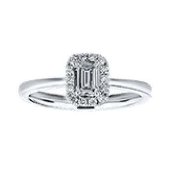 Gold Casters Diamond Emerald Cut Halo Engagement Ring
