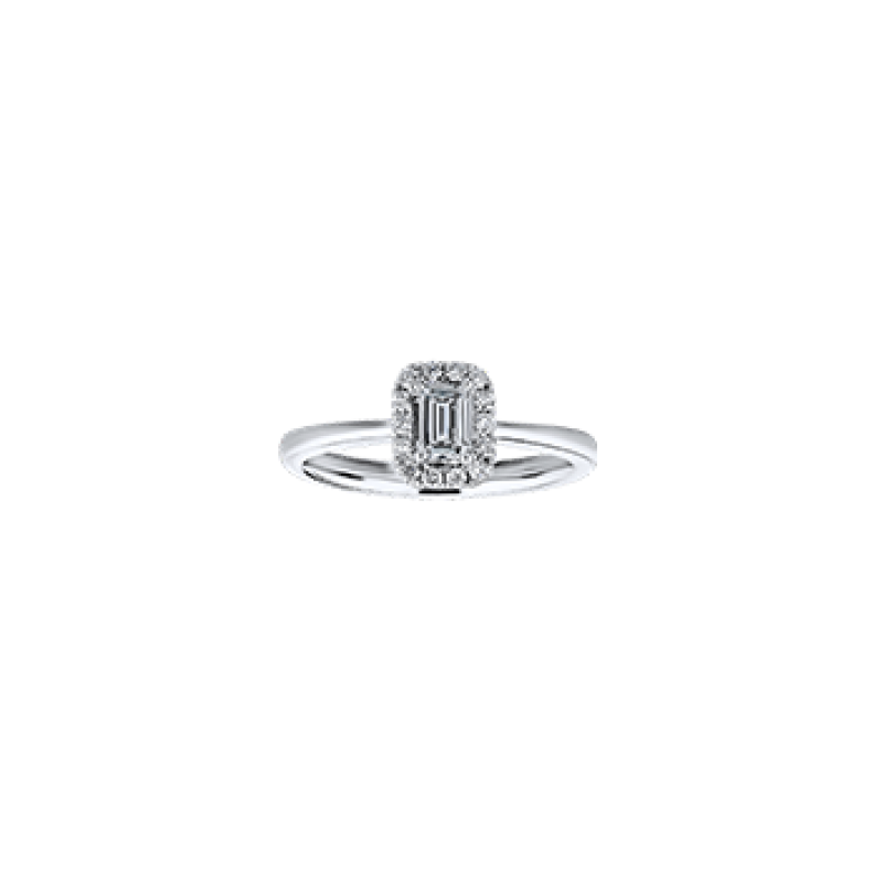 Gold Casters Bridal Collection Gold Casters Diamond Emerald Cut Halo Engagement Ring