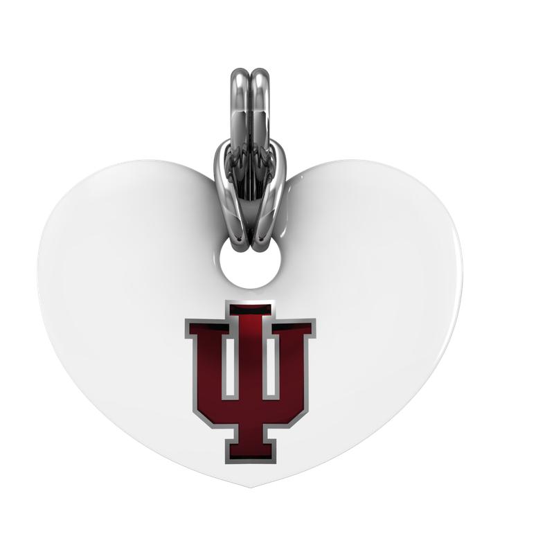 Indiana University jewelry collection SS IU WHT ENAMEL HEART PENDANT