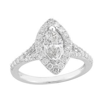 Gold Casters Diamond Marquise Brilliant Woven Engagement Ring