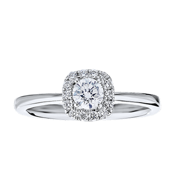 Gold Casters Diamond Cushion Halo Round Center Diamond Engagement Ring