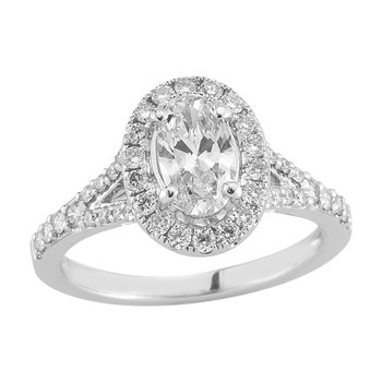 Gold Casters Diamond Oval Woven Diamond Engagement Ring