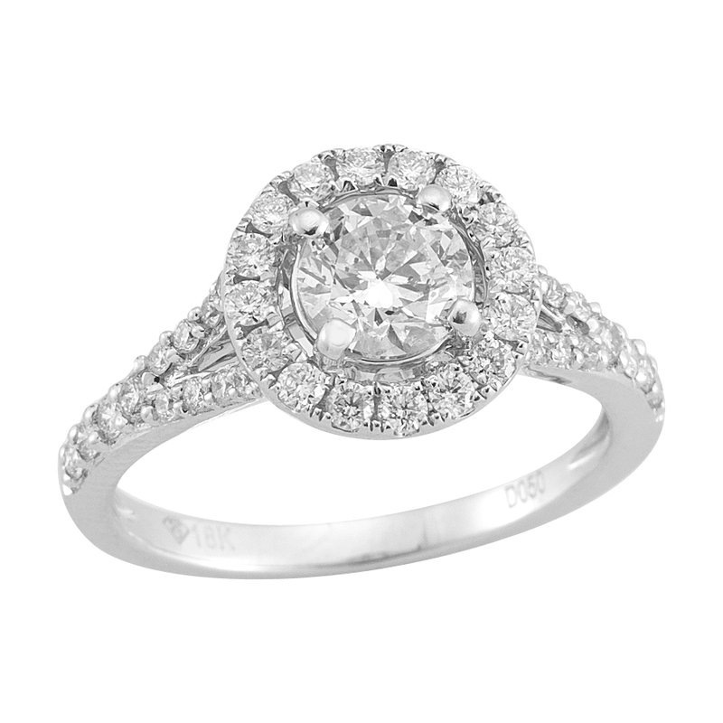 Gold Casters Bridal Collection Gold Casters Diamond Round Woven Halo Engagement Ring