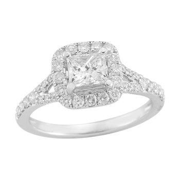 Gold Casters Diamond Princess Cut Woven Diamond Engagement Ring