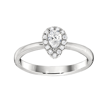 Gold Casters Diamond Pear Brilliant Halo Engagement Ring