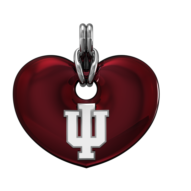 Indiana University jewelry collection SS IU RED ENAMEL HEART PENDANT