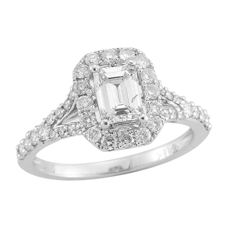 Gold Casters Bridal Collection Gold Casters Diamond Emerald Cut Woven Halo Engagement Ring