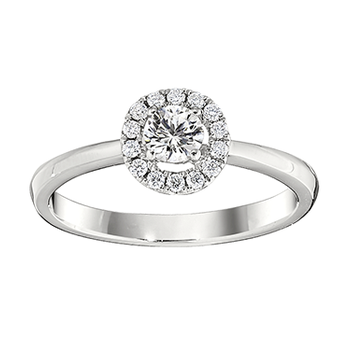 Gold Casters Diamond Round Halo Engagement Ring