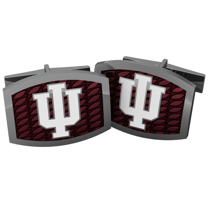 Indiana University jewelry collection SS IU RED ENAMEL CUFFLINKS