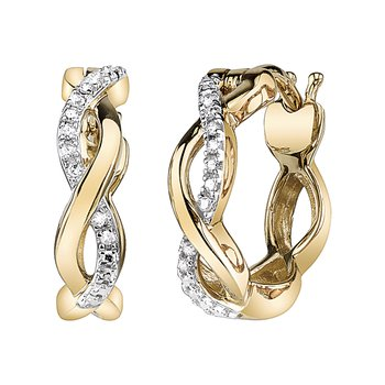 YELLOW GOLD INFINITY DIAMOND EARRINGS