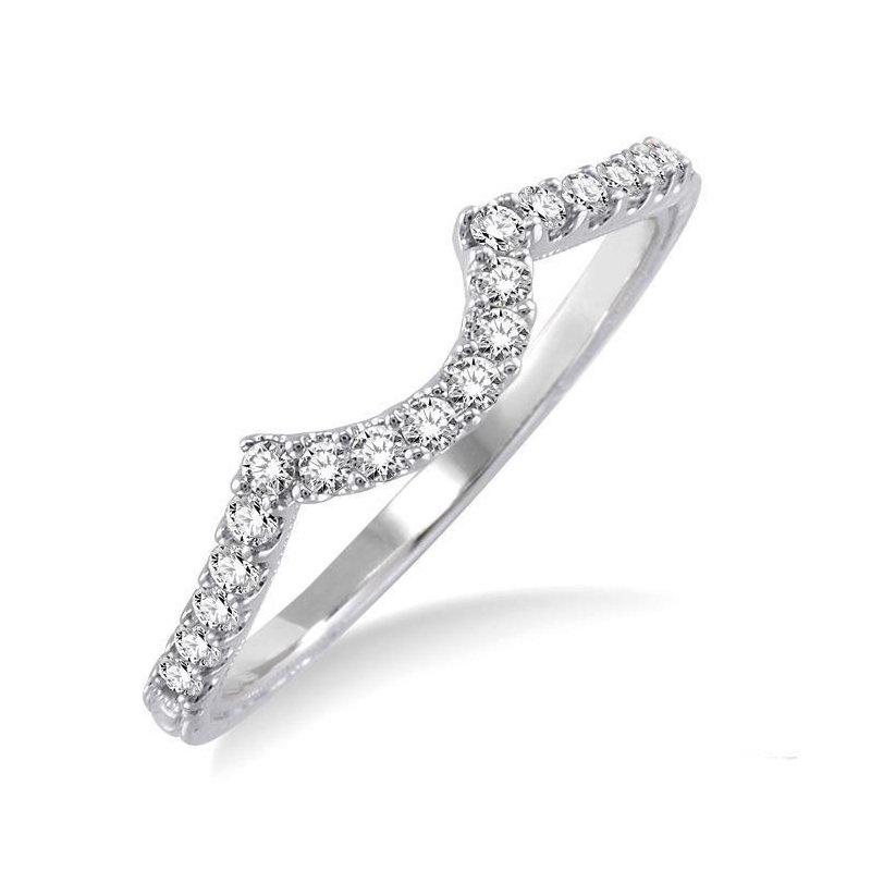 MAZZARESE Bridal WHITE GOLD DIAMOND CONTOURED WEDDING BAND