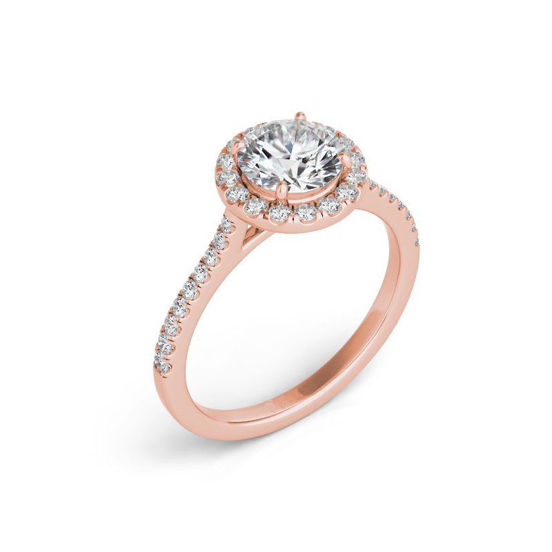 Mazzarese Couture ROSE GOLD HALO ENGAGEMENT RING