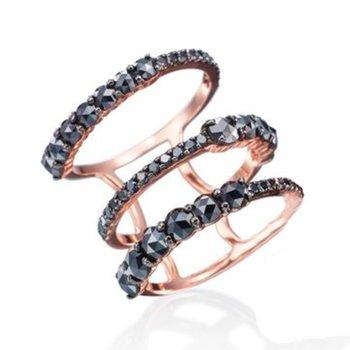 ETHO MARIA Rose Gold Black Diamond Ring
