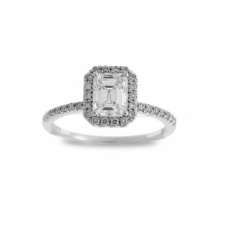 MAZZARESE Couture EMERALD CUT DIAMOND HALO ENGAGEMENT RING
