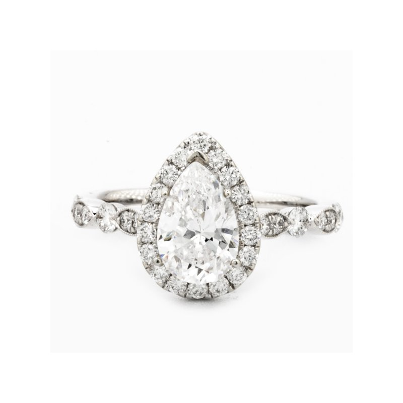 MAZZARESE Couture PEAR HALO ENGAGEMENT RING