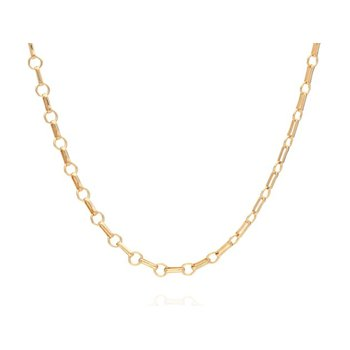 Bar & Ring Chain Collar Necklace - Gold