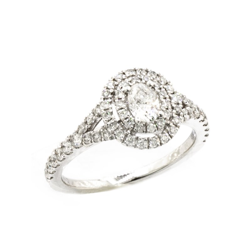 MAZZARESE Couture OVAL DOUBLE HALO ENGAGEMENT RING