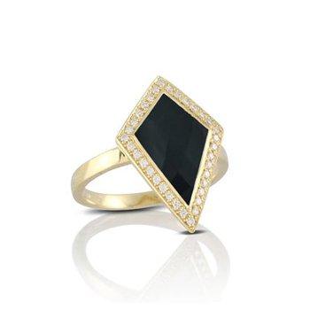 BLACK ONYX AND DIAMOND KITE RING