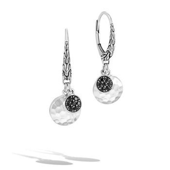 Dot Hammered Double Disc Drop Earrings