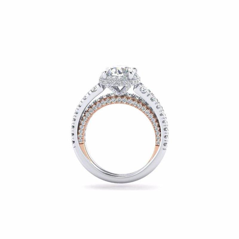 Amavida 18K White-Rose Gold Round Double Halo Diamond Engagement Ring
