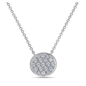 Diamond Pave Disc Necklace
