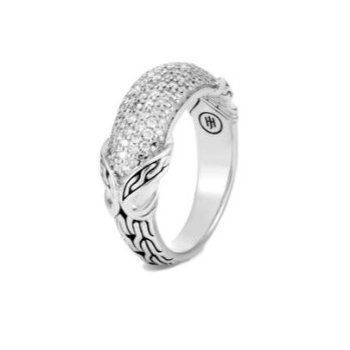 Asli Classic Chain Silver Link Diamond Pave' Ring
