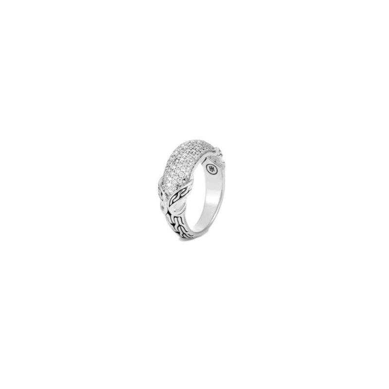 JOHN HARDY Asli Classic Chain Silver Link Diamond Pave' Ring