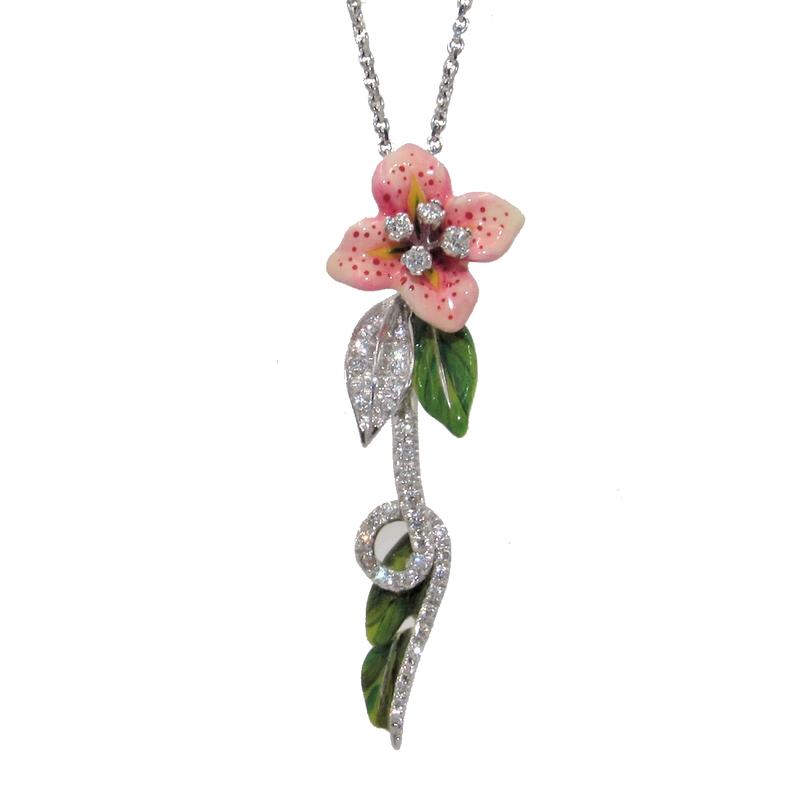 Bergio BERGIO ENAMEL AND DIAMOND FLOWER NECKLACE