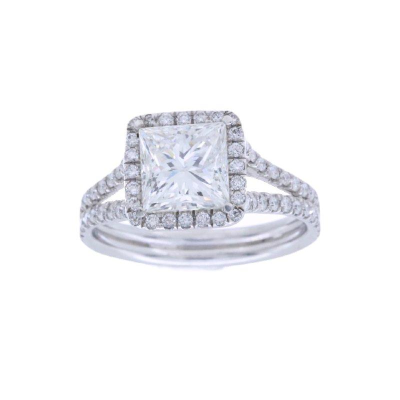 MAZZARESE Bridal PLATINUM HALO ENGAGEMENT RING