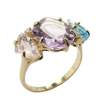 Vianna B.R.A.S.I.L. Blue Topaz, Rose Quartz, Amethyst Ring