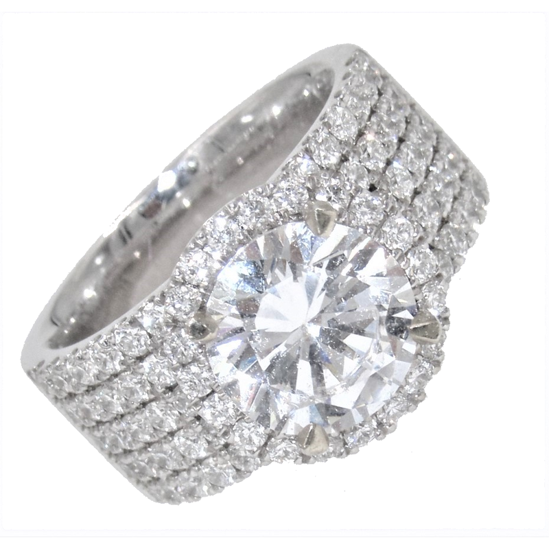 MAZZARESE Couture WHITE GOLD HALO ENGAGEMENT RING