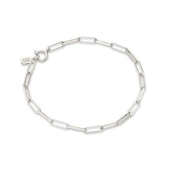 Elongated Box Chain Bracelet, Silver