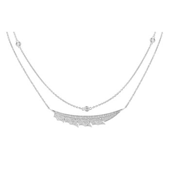 STEPHEN WEBSTER MAGNIPHEASANT PAVÉ FEATHER NECKLACE