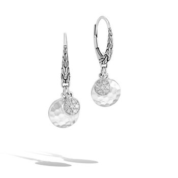 Hammered Drop Earrings with Diamonds