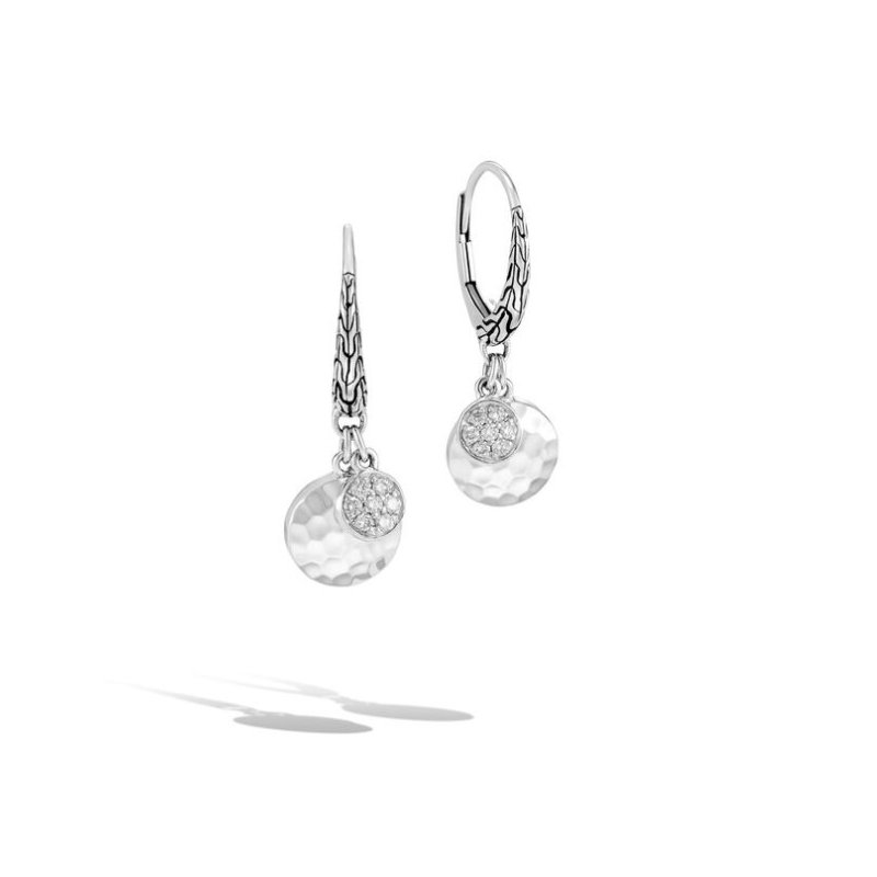 JOHN HARDY Hammered Drop Earrings with Diamonds