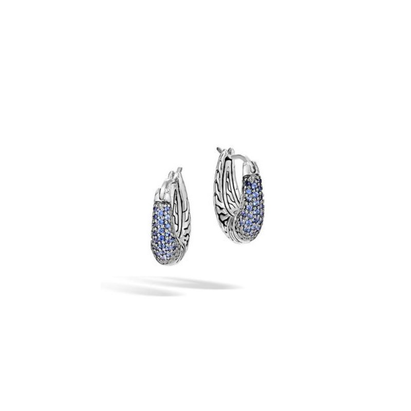JOHN HARDY Classic Chain Hoop Earring with Blue Sapphire