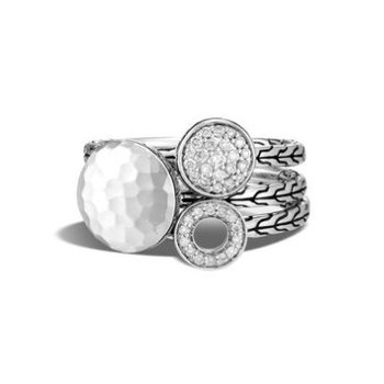 Hammered Transformable Ring with Diamonds