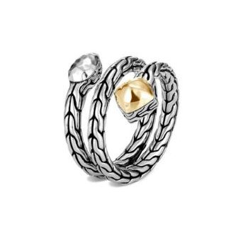 Classic Chain Hammered Coil Ring