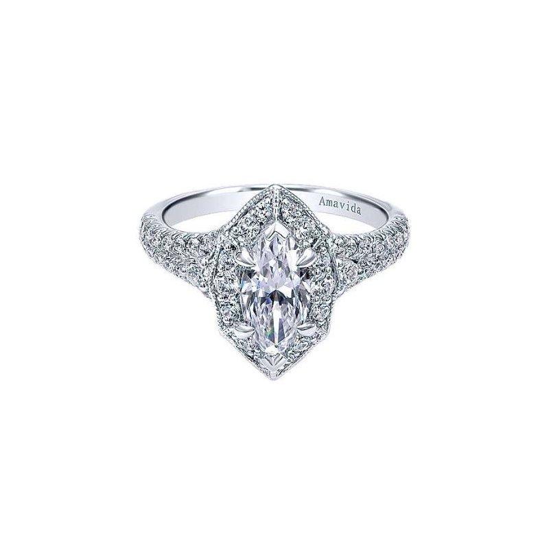 Amavida 18K White Gold Marquise Halo Diamond Engagement Ring