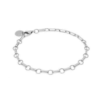 Bar & Ring Chain Bracelet - Silver