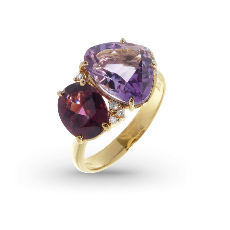 Vianna Brazil Amethyst and Rhodolite Ring