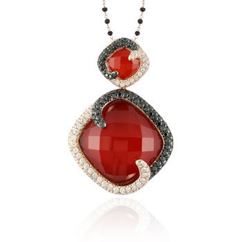 RED AGATE AND DIAMOND PENDANT