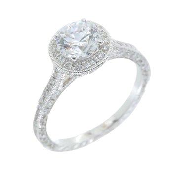 VINTAGE STYLE DIAMOND HALO ENGAGEMENT RING