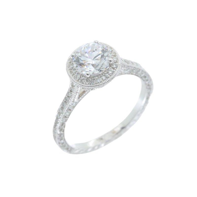Beverley K VINTAGE STYLE DIAMOND HALO ENGAGEMENT RING