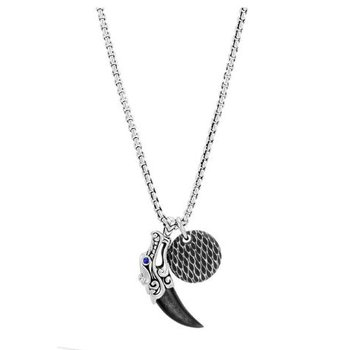Legends Naga Silver Obsidian & Blue Sapphire Circle Pendant Necklace
