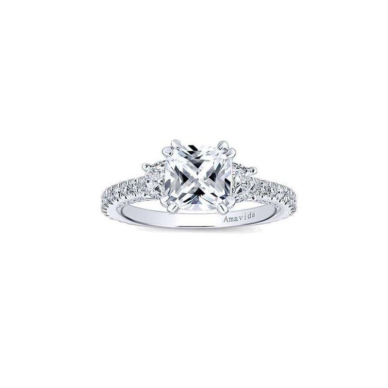 Amavida 18K White Gold Cushion Cut Diamond Engagement Ring