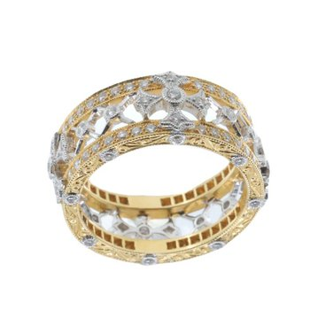 TWO-TONE GOLD AND DIAMOND CROSS RING