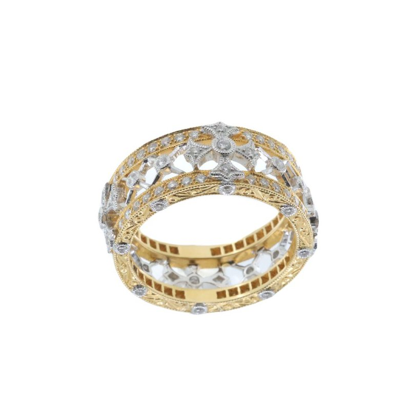 Beverley K TWO-TONE GOLD AND DIAMOND CROSS RING