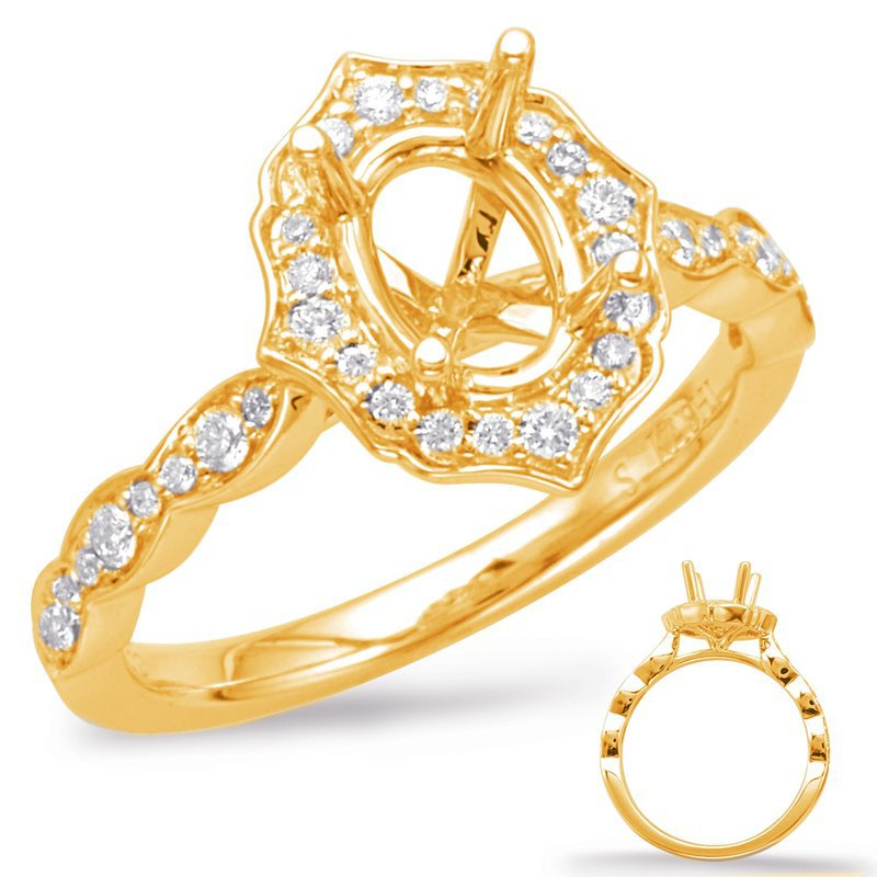 MAZZARESE Couture YELLOW GOLD VINTAGE HALO ENGAGEMENT RING